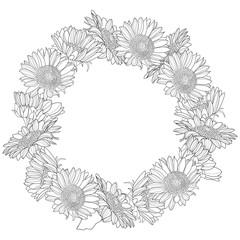 Wreath made of sunflowers.