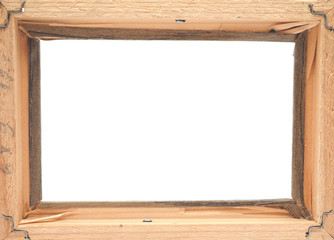 Wooden photo frame on a white background