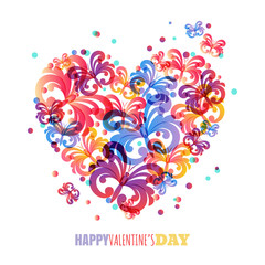 Valentines day background. Vector greeting card template with co
