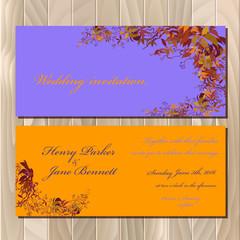 Autumn wild grape wedding invitation card. Printable vector illustration