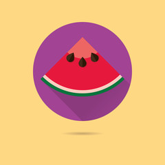 watermelon flat design vector icon