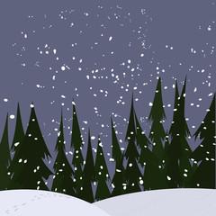 strong snowfall at woods