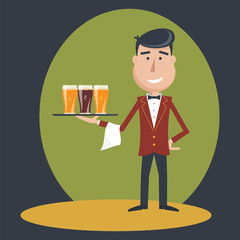 Waiter with three glasses of beer and tray on outstretched arm. Invitation to have a beer. Foods Service . Simple flat vector.EPS 10.