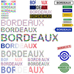 Bordeaux text design set