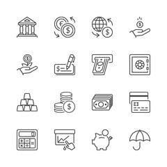 finance thin line iconset 1