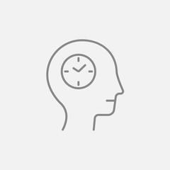 Human head with clock line icon.