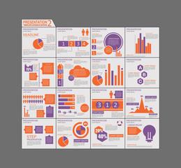 Orange and purple template brochure design Set Presentation of i