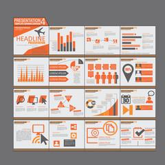 Orange presentation Infographic elements template flat design se