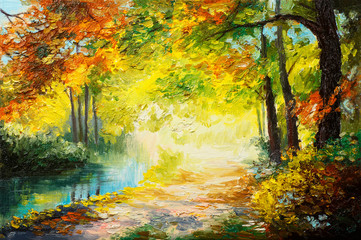 Photo sur Aluminium Jaune Oil painting landscape - colorful autumn forest