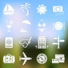 Travel vector icons on blurred background