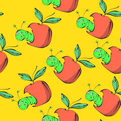 The worm and the Apple. Vector bright seamless pattern