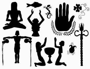 Collection with silhouettes of peace, love and faith symbols