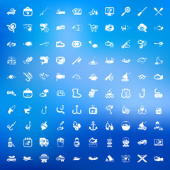 fishing 100 icons set for web