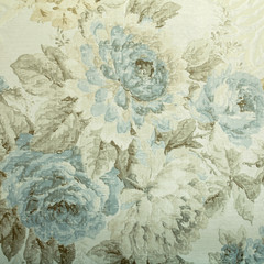 Printed roller blinds Vintage Flowers Vintage wallpaper with blue floral victorian pattern