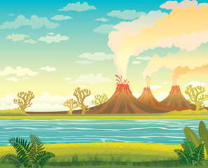 Prehistoric landscape with lake and volcanoes.