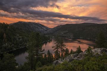 Sunset at Pinecrest Lake