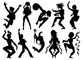 Set with silhouettes of dancers and performers