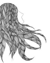 Illustrazione capelli stilizzati