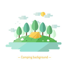 Camping vector flat style background with deciduous trees. Nature background with trees, lake, sun, clouds, expedition tents and bunnies