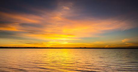Seascape during sunrise. Beautiful natural seascape
