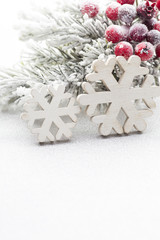 Christmas decoration over silver background.