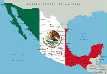 Mexico highly detailed political map with national flag.