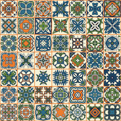 Seamless patchwork pattern, tiles, ornaments