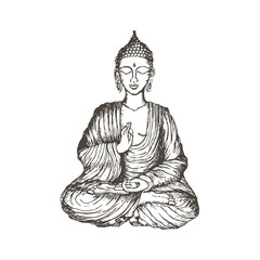 Hand drawn vector illustration of Sitting Buddha.