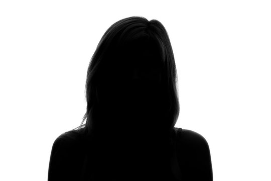 silhouette of a woman's face on a white background