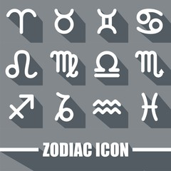 Zodiac Icon Black And White Color With Shadow Design Vector