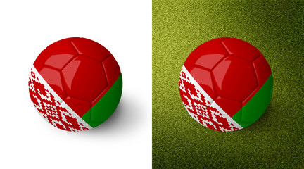 3d realistic soccer ball with the flag of Belarus on it isolated on white background and on green soccer field. See whole set for other countries.