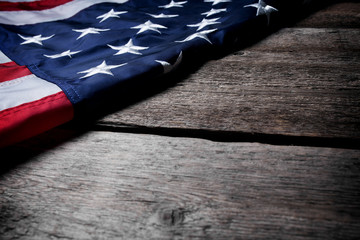American flag on grunge wooden background