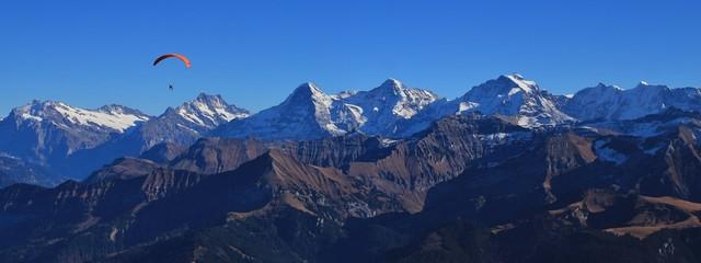 Zelfklevend Fotobehang Bergen Famous mountains Eiger, Monch and Jungfrau