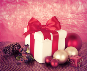 Christmas Presents and Ornaments on red Background