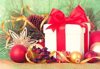 Christmas Presents and Ornaments on retpo Background