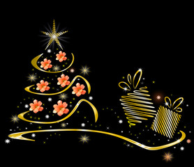 Golden Christmas tree with glowing stars, flowers and present box on black background