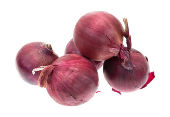 Large red onions on a white background