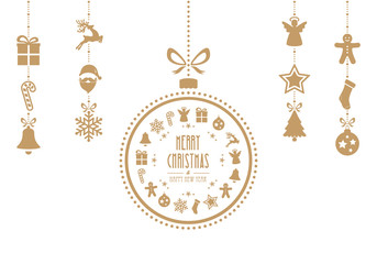christmas bauble ornaments gold isolated background