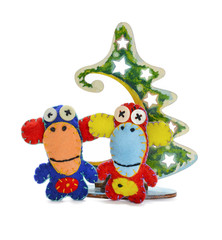 Felt  monkeys and Christmas tree