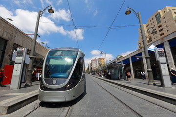 Jerusalem Light Rail tram (train) stop and Central bus station on Jaffa street, Jerusalem, Israel