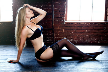 3320cf5912877 Sexy young woman wearing black lingerie with bra and panties - Buy ...
