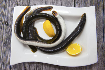 Fresh live fish lamprey on porcelain plate with lemon.