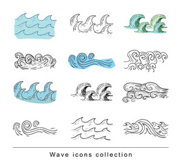 Ocean or sea waves. vector illustration.