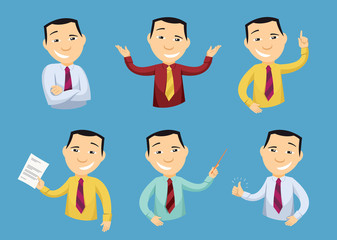 Set of funny caricatures businessman in various poses. Collection of various gestures. Manager. Approval document. Creativity. Staff training. Cartoon simple vector illustration.