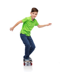 happy boy with skateboard