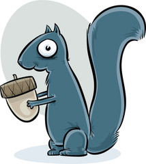 A happy cartoon squirrel holding an acorn as it gets ready for fall hibernation.