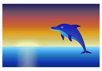 Dolphin over sea at sunset sky background.