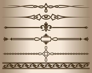 Decorative elements. Design elements - decorative line dividers and ornaments. Monochrome graphic element. Vector illustration.