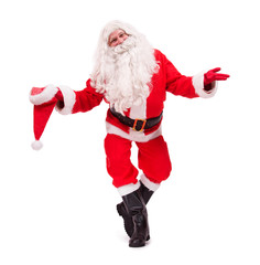 Santa Claus bowing with hat isolated on white backgroud