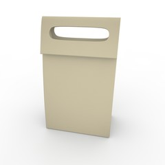 Grey empty bag with handle on white background